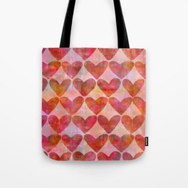 red Hearts mixed media pattern Tote Bag