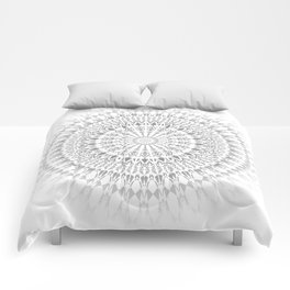 Light Grey White Mandala Comforters