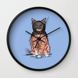Periwinkle Pink Bat Cat Wall Clock