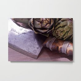 Vintage butchers knife and artichoke still life Metal Print