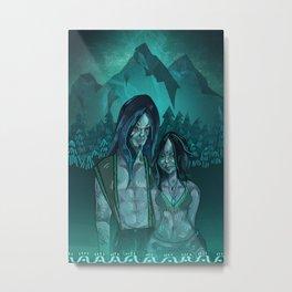 Illustration digital art native hippie couple on mountain with blue feeling Metal Print