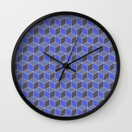 Blue Indigo Isometric Cubes Wall Clock