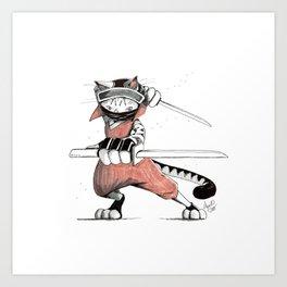 Ninja Egyptian Mau Cat Art Print