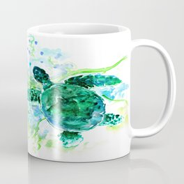 Sea Turtles Underwater Scene Turquoise Blue design, bright blue green design Coffee Mug