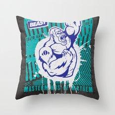 Mayhem Ape (Teal on Gun Metal) Throw Pillow