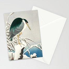 Heron in snow - Japanese vintage woodblock print art Stationery Cards