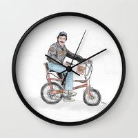 tom selleck Wall Clocks featuring Tom Selleck by mattdunne