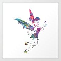 tinker bell Art Prints featuring Tinker Bell by Bitter Moon