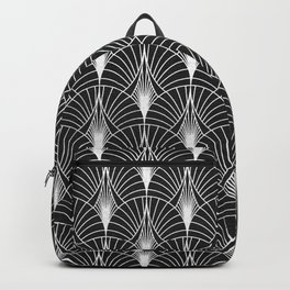 Art Deco Sultry Nights Black And White Pattern Backpack
