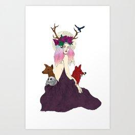Deer Women, The Fox and The Lamb Art Print
