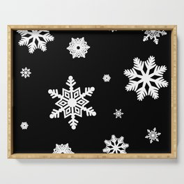 Snowflakes | Black & White Serving Tray