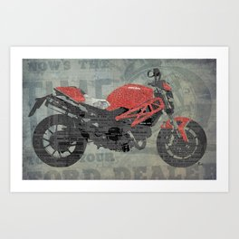 Red motorcycle newspaper collage, now is the time, original abstract artwork Art Print