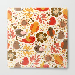 Cute doodle autumn pattern with birds and leaves Metal Print