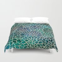 marianna Duvet Covers featuring Floral Abstract 4 by Klara Acel