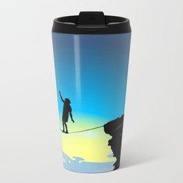 Silhouette over the precipice Metal Travel Mug