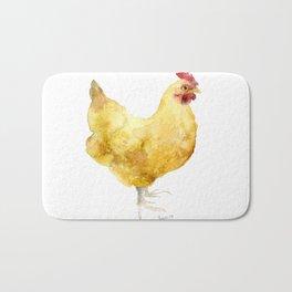 Buff Orpington Hen- Chicken watercolor Painting Bath Mat