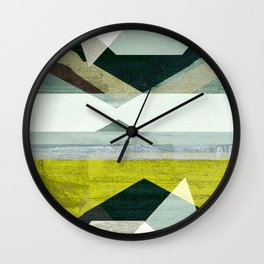 modern mid century, Graphic art, neutral colors, geometric art, circles, modern painting, abstract Wall Clock