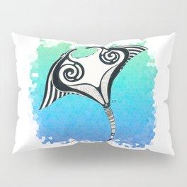 Manta Ray Tribal Tattoo Ink Teal Blue Pillow Sham