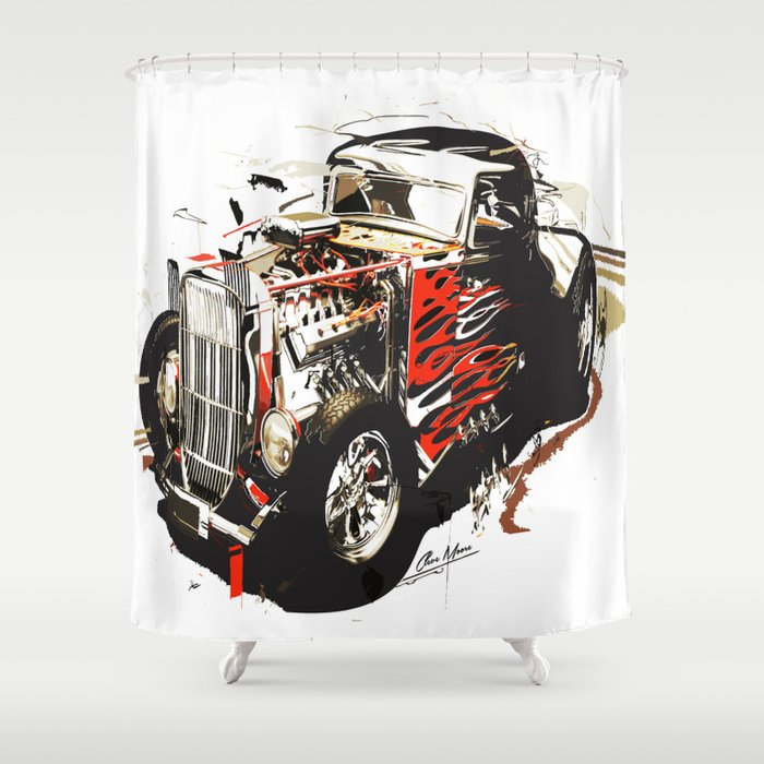 Abstract Classic Car Shower Curtain By Vectorart