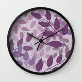 Purple and Violet Abstract Leaves Wall Clock