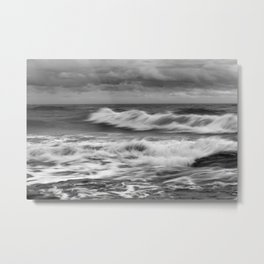 Ocean in Black and White Metal Print