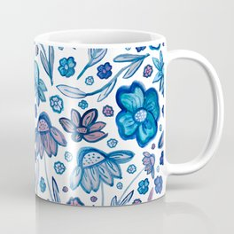 Beautiful Soft Pink and Blue Watercolor Floral Print Coffee Mug