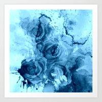 roses Art Prints featuring roses underwater by clemm