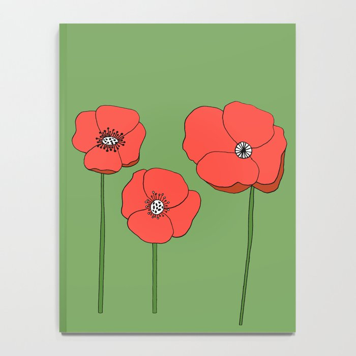 Red Poppies by Emma Freeman Designs Notebook