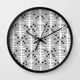 Helo - modern pattern design gift for college dorm decor trendy monochromatic grey neutral bold Wall Clock