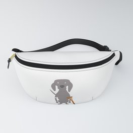 Wounded Weim Grey Ghost Weimaraner Dog Hand-painted Pet Drawing Fanny Pack