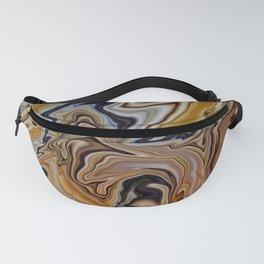 GYRE golden swirls navy accent marble like design Fanny Pack