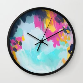Blooms in storm- abstract pink, blue and teal  Wall Clock