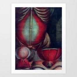 Anatomy art BONES BELLY PAUNCH dark art, gothic home decor, gothic decor, gothic wall decor, medical Art Print