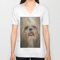 shih tzu V-neck T-shirts featuring Shih Tzu by Pauline Fowler ( Polly470 )