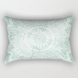 BOHEMIAN FLOWER MANDALA IN TEAL Rectangular Pillow