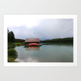 Maligne Lake Boathouse Art Print
