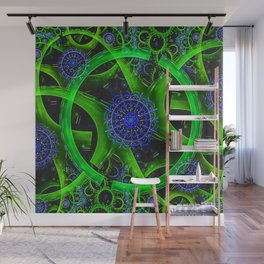 Green Gears Fractal Wall Mural
