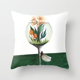 Unexpected Terrarium Dragonfly Throw Pillow