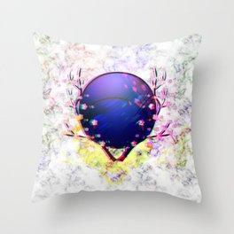 Cherry blossom with purple moon Throw Pillow