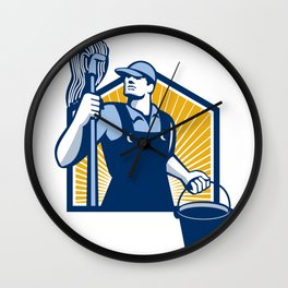 Janitor Cleaner Holding Mop Bucket Retro Wall Clock