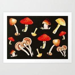 Brigt Mushrooms Art Print