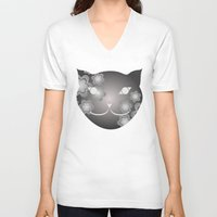 meow V-neck T-shirts featuring Meow by ArigigiPixel
