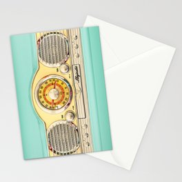 Blue teal Classic Old vintage Radio Stationery Cards