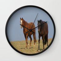 horses Wall Clocks featuring horses by Laake-Photos