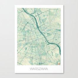 Warsaw Map Blue Vintage Canvas Print