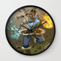 the legend of korra Wall Clocks featuring The Legend Of Korra by Fran Agostinelli