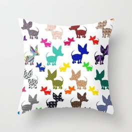 colorful chihuahuas on parade  Throw Pillow