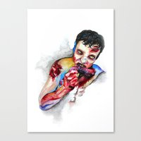 zombie Canvas Prints featuring Zombie by Camille Ratté
