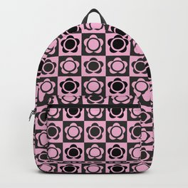RETRO FLOWER - PINK AND BLACK Backpack