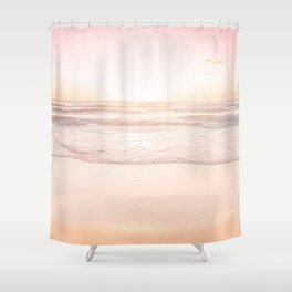 Waves And Sunset Over Golden Sand Shower Curtain